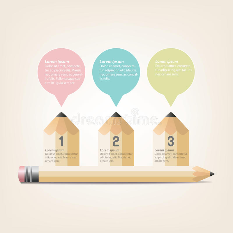 Education Infographics pencil Template Design royalty free stock image