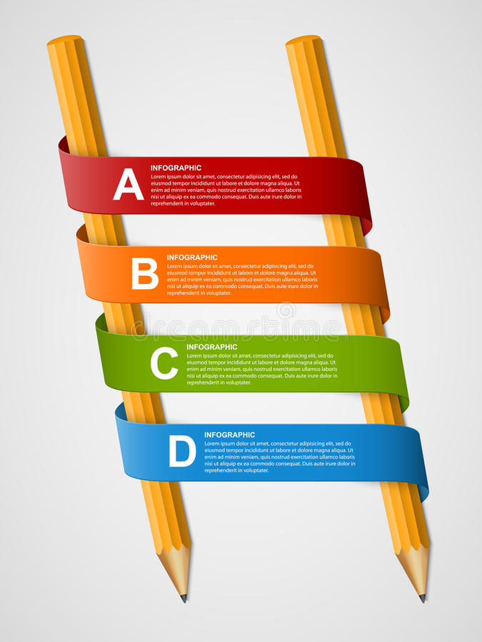 Education infographics template with pencil and ribbons. royalty free illustration