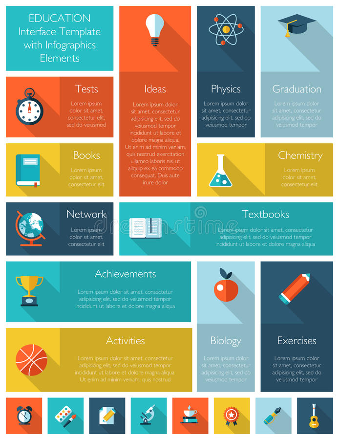 Education interface template with infographics. Modern education interface template with infographics elements stock illustration