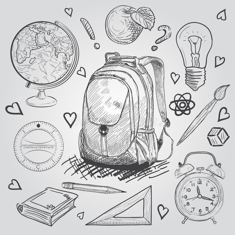Education items. Hand Drawn Doodle school supplies Vector Set. royalty free illustration
