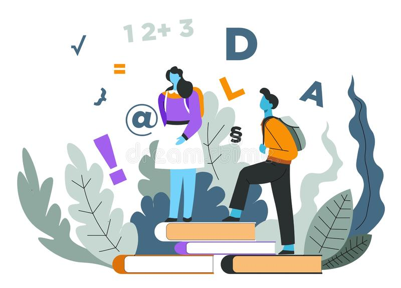 Education and knowledge, school children and books isolated abstract icon vector illustration