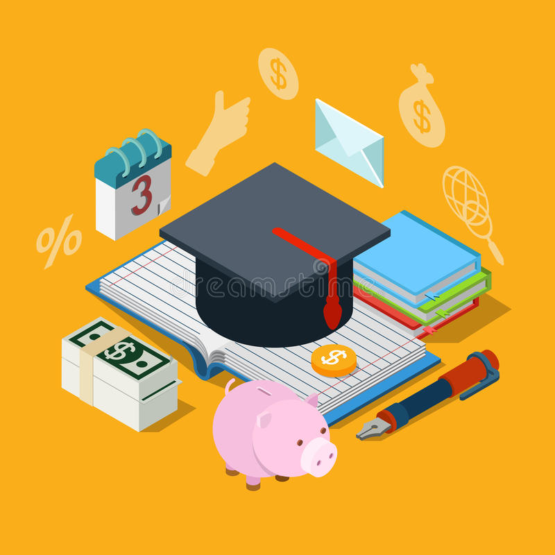 Education knowledge tuition fee credit loan flat 3d isometric vector illustration
