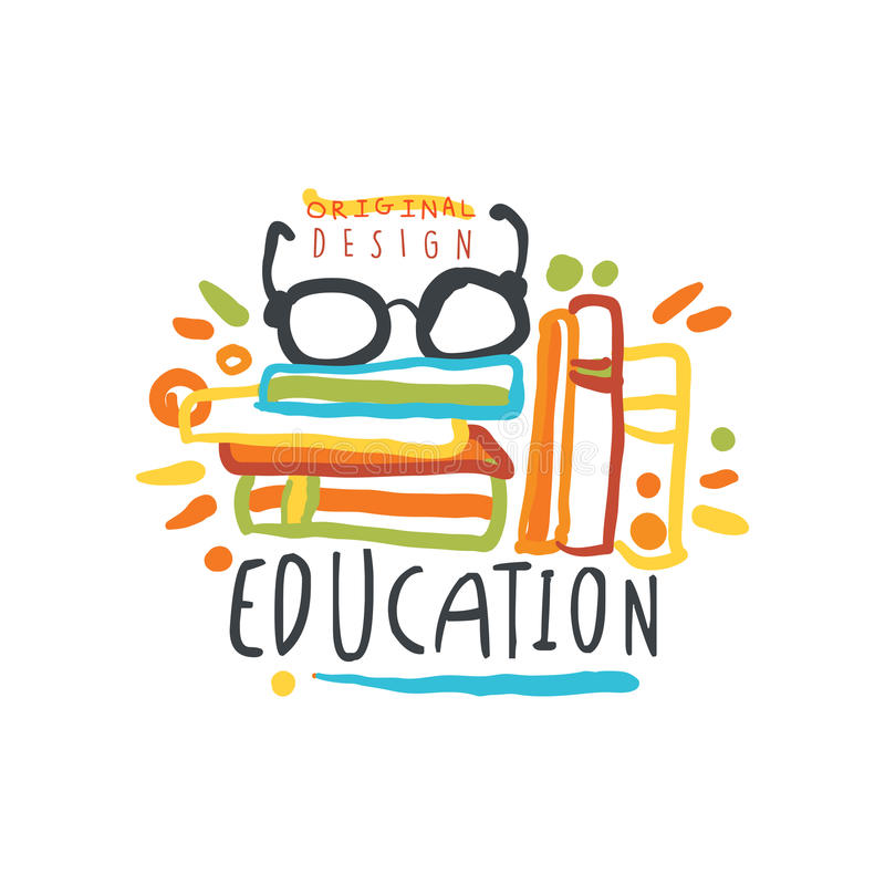 Education label, back to school logo graphic template stock illustration