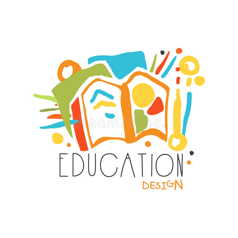 Education label design, back to school logo graphic template. Colorful hand drawn vector Illustration stock illustration