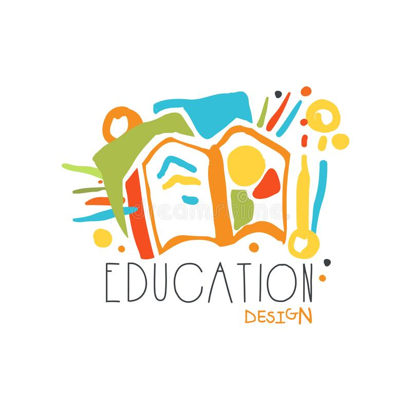 Education label design concept with educational supplies stock illustration
