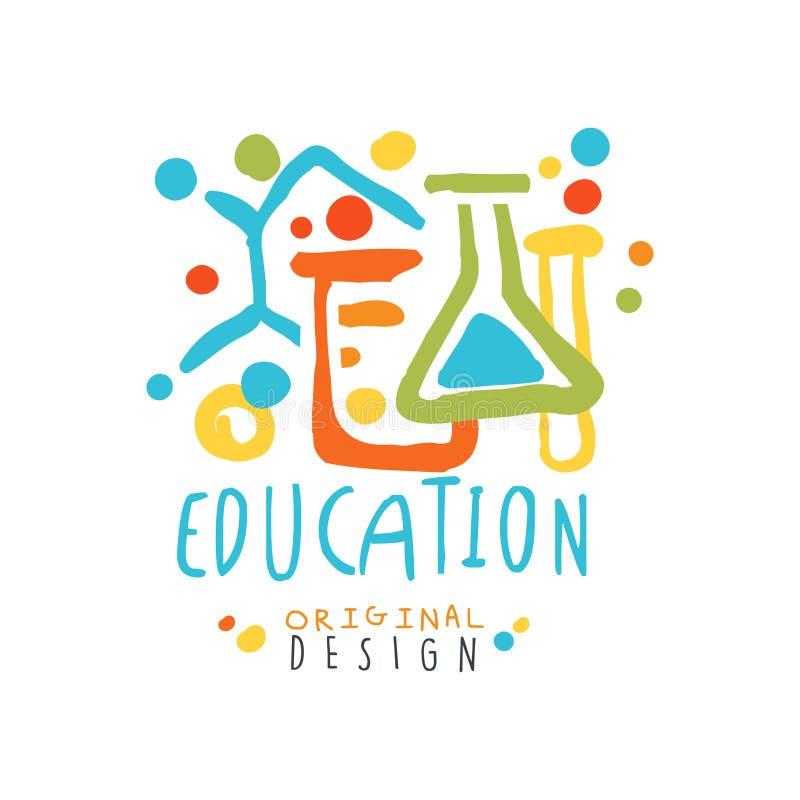 Education label original design, back to school logo. Colorful hand drawn vector Illustration royalty free illustration