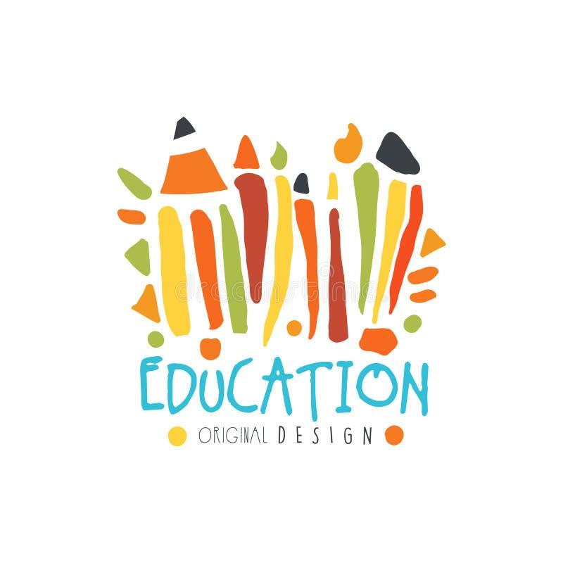 Education label original design, back to school logo graphic template. Colorful hand drawn vector Illustration vector illustration