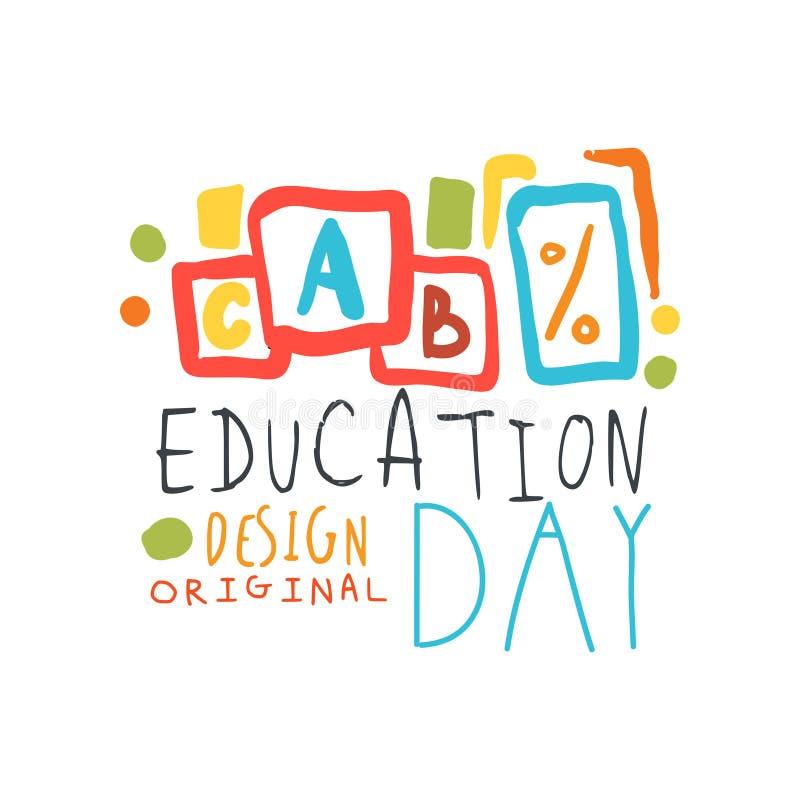 Education label original design with cubes alphabet royalty free illustration