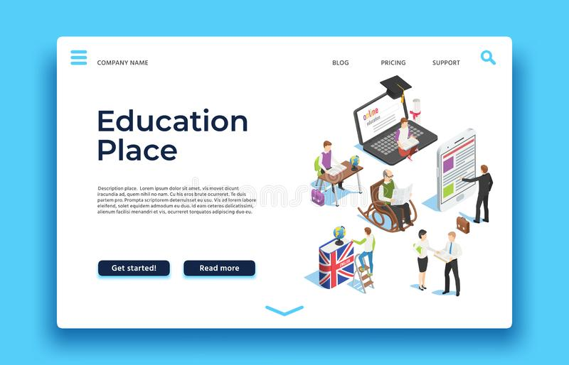 Education landing page. Isometric people learning with ebooks smatphones and laptops. Vector web design vector illustration