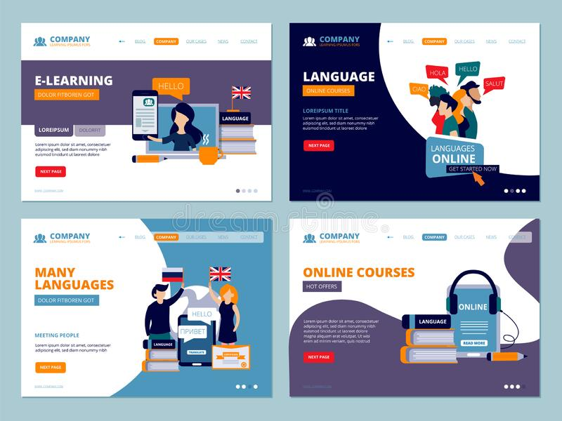 Education landing. Web trainings language courses tutorials wireframe ui template flat characters vector business royalty free illustration