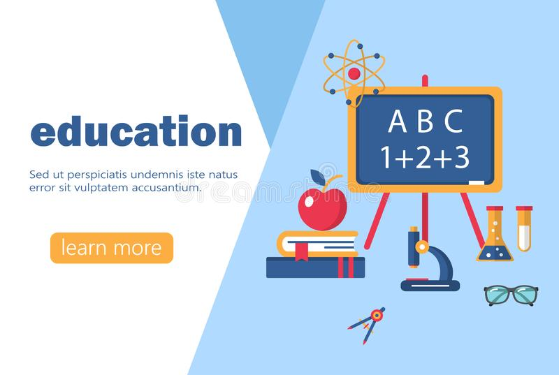 Education and learning banner flat design template vector illustration