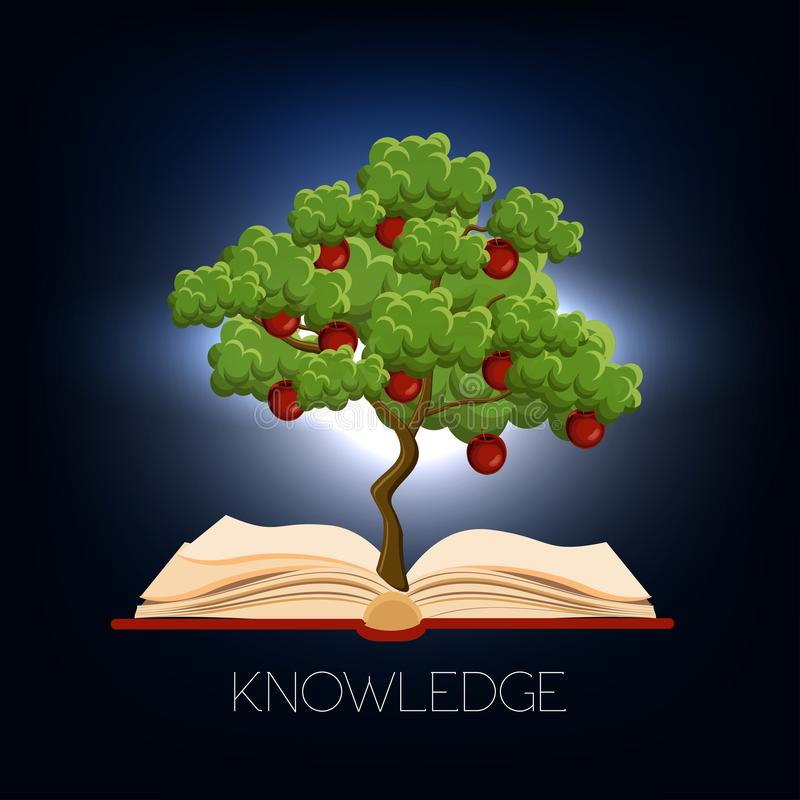 Education, learning concept with and apple tree growing from open book and text knowledge on dark blue background. royalty free illustration