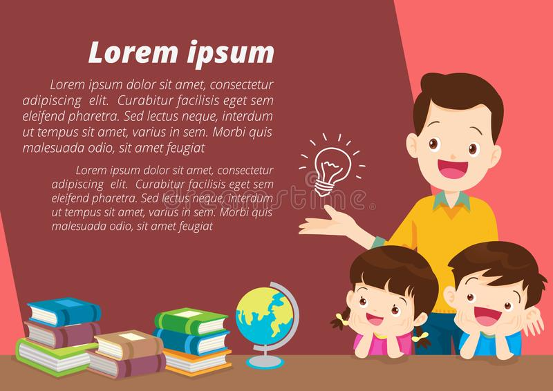 Education and learning,family and children thinking idea stock illustration