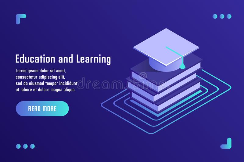 Education and Learning, online training, distance education, tutorials, e-learning. Vector illustration in flat isometric 3D style.  royalty free illustration