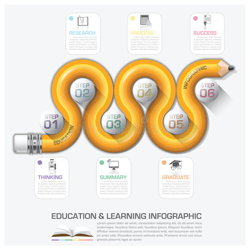 Education And Learning Step Infographic With Curve Pencil Diagra stock illustration