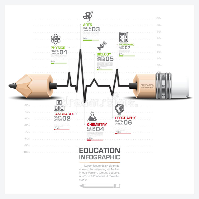 Education And Learning Step Infographic With Pulse Line Graph. Pencil Lead Vector Design Template stock illustration