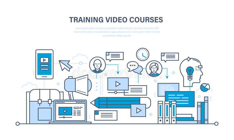 Education, learning technologies, remote online video courses, communications, training programs. Education and learning technologies, remote online video stock illustration