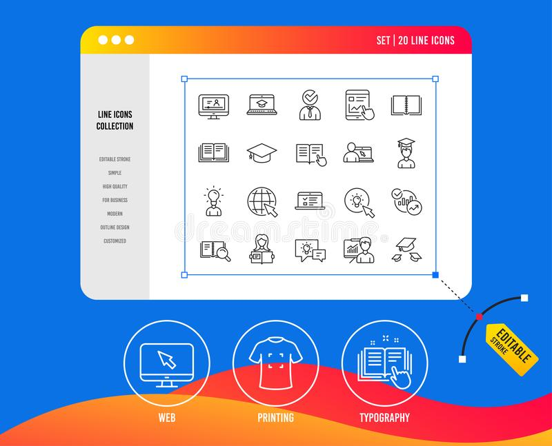 Education line icons. Book, Video tutorial. Vector royalty free illustration