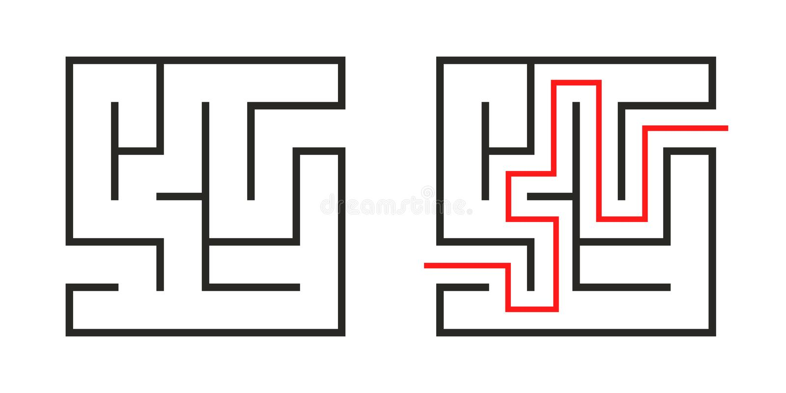 Education logic game labyrinth for kids. Find right way. Isolated simple square maze black line on white background. vector illustration