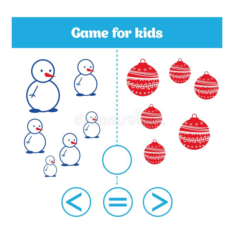 Education logic game for preschool kids. Choose the correct answer. More, less or equal Vector illustration. Christmas Xmas and Ne. W Year holidays design vector illustration
