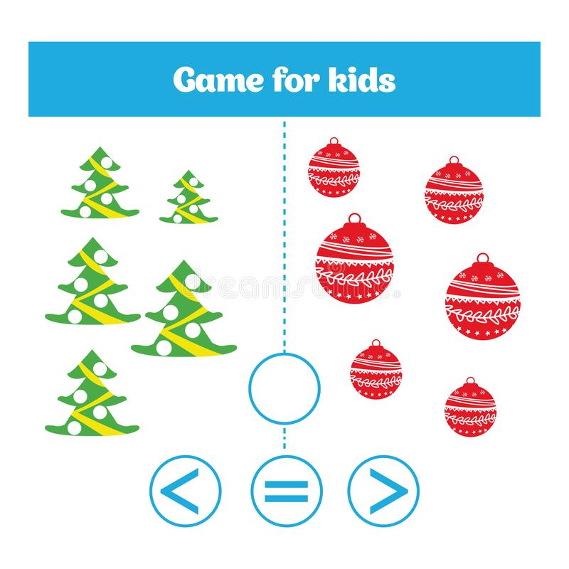 Education logic game for preschool kids. Choose the correct answer. More, less or equal Vector illustration. Christmas Xmas and Ne. W Year holidays design stock illustration