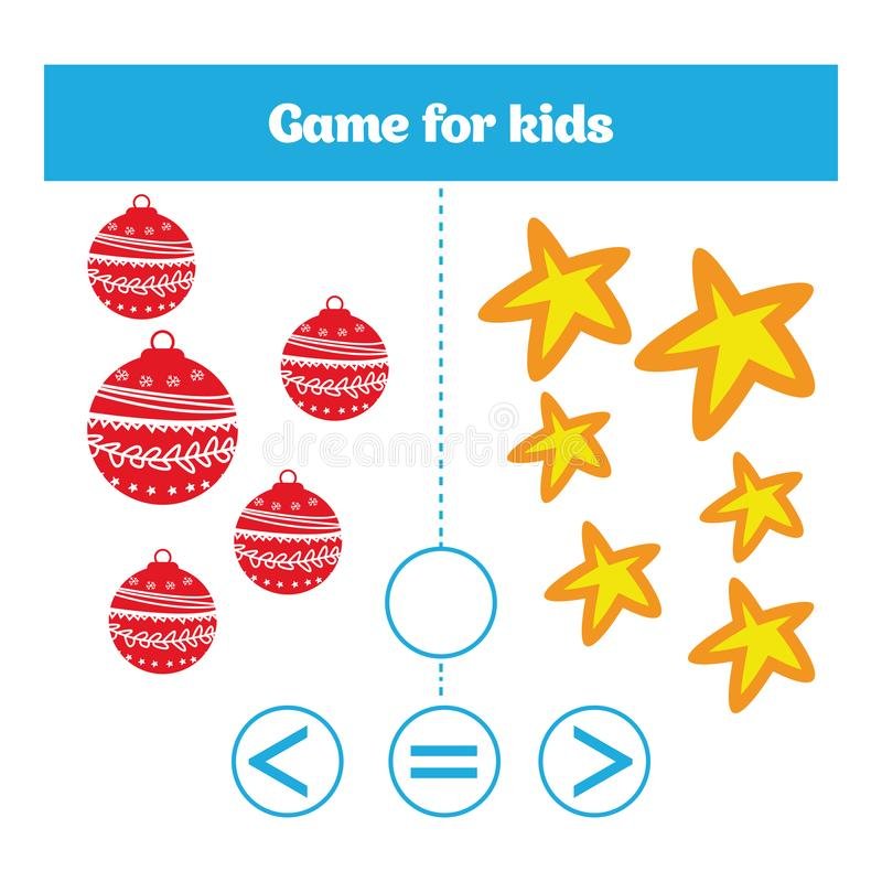 Education logic game for preschool kids. Choose the correct answer. More, less or equal Vector illustration. Christmas Xmas and Ne. W Year holidays design royalty free illustration