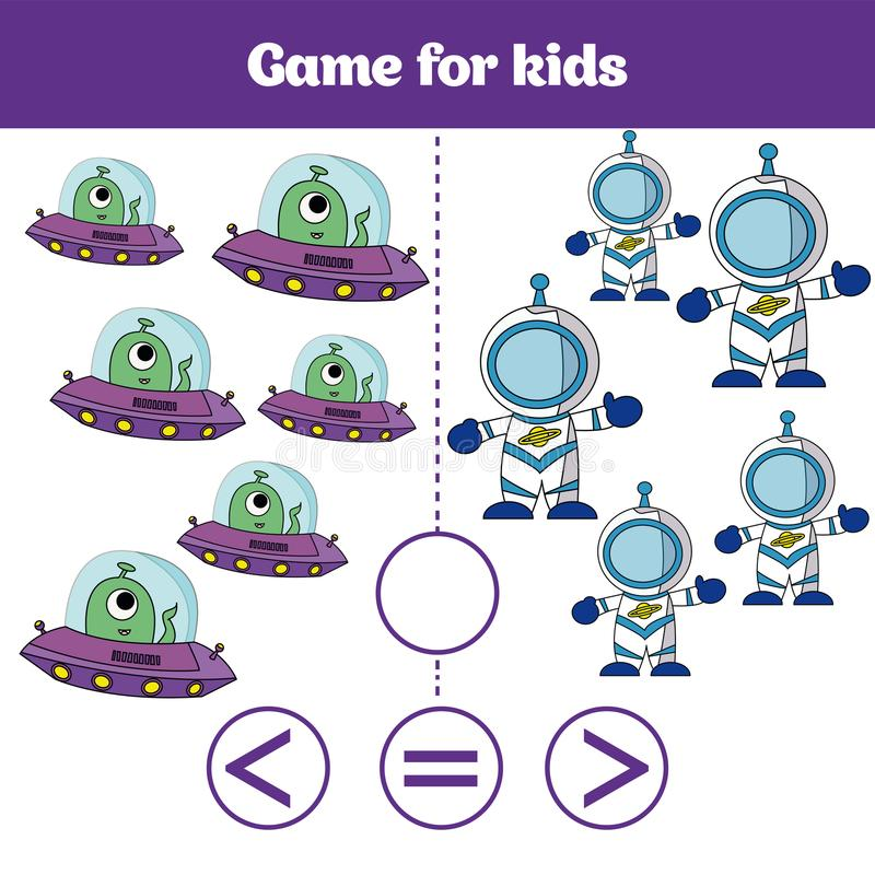 Education logic game for preschool kids. Choose the correct answer. More, less or equal Vector illustration. Cosmos design.  royalty free illustration