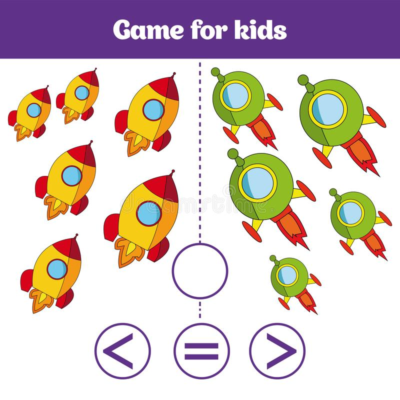 Education logic game for preschool kids. Choose the correct answer. More, less or equal Vector illustration. Cosmos design.  vector illustration