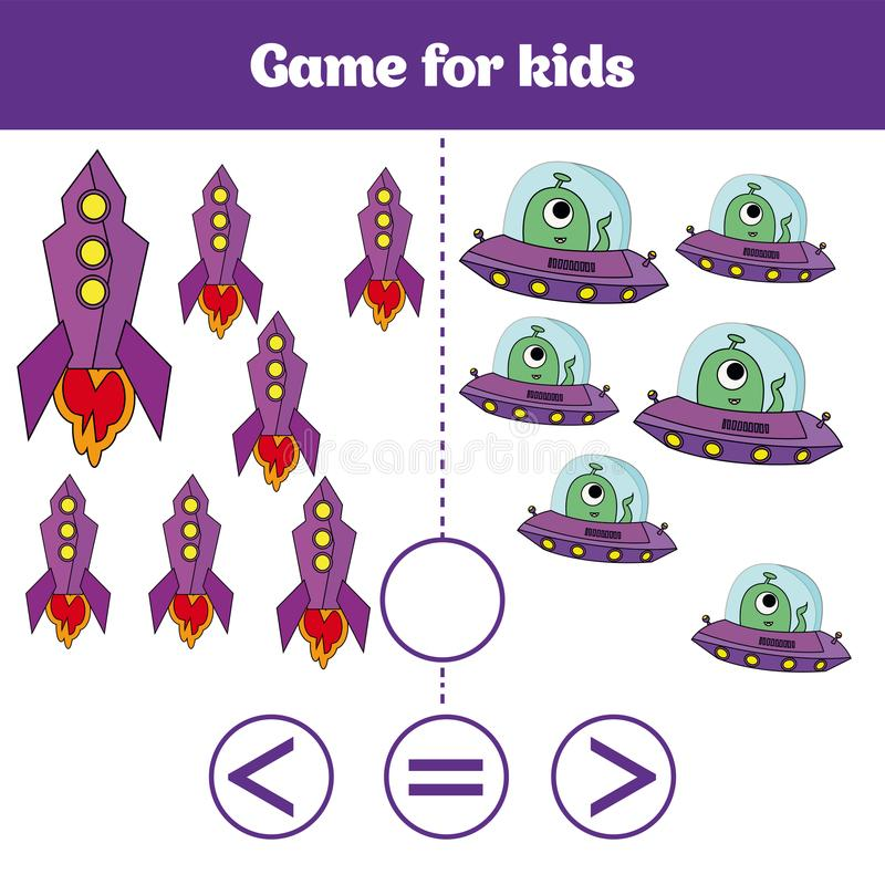 Education logic game for preschool kids. Choose the correct answer. More, less or equal Vector illustration. Cosmos design.  stock illustration