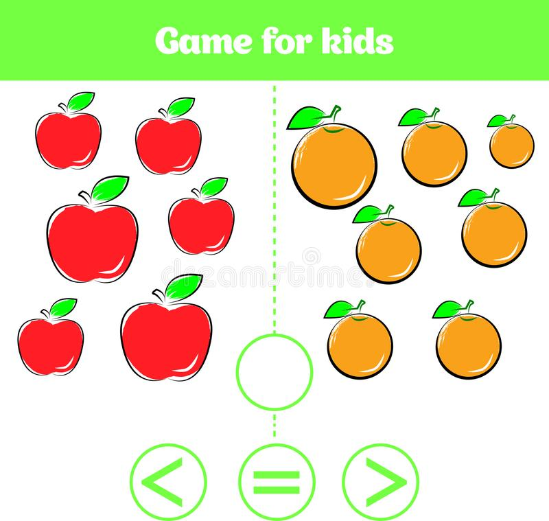 Education logic game for preschool kids. Choose the correct answer. More, less or equal Vector illustration. Fruits vegetables, pi. Education logic game for royalty free illustration