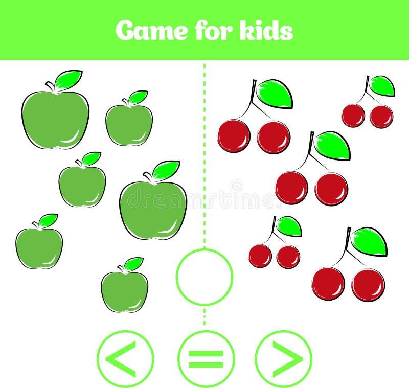 Education logic game for preschool kids. Choose the correct answer. More, less or equal Vector illustration. Fruits vegetables, pi. Education logic game for stock illustration