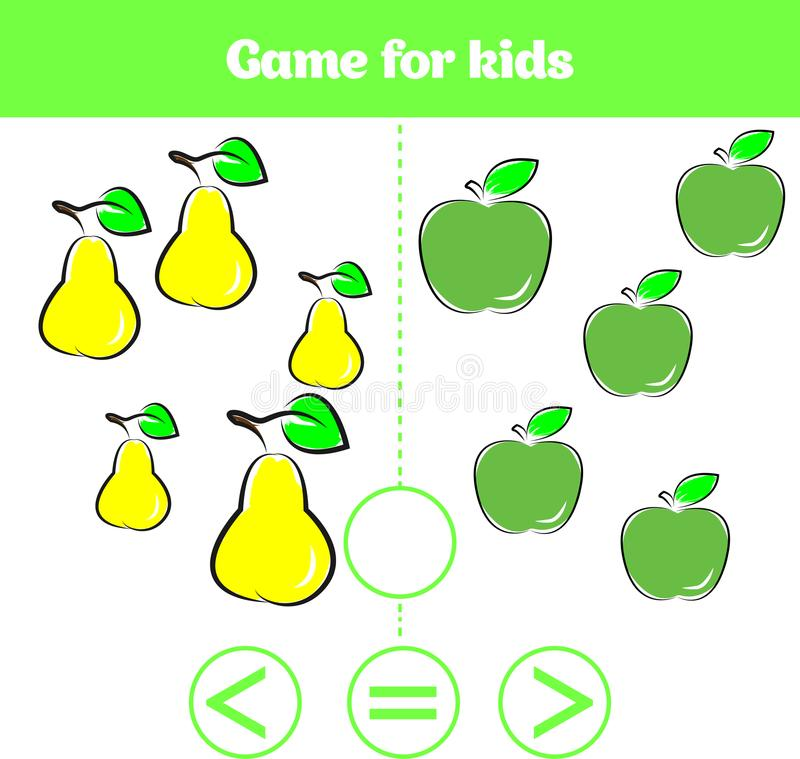 Education logic game for preschool kids. Choose the correct answer. More, less or equal Vector illustration. Fruits vegetables, pi. Education logic game for vector illustration