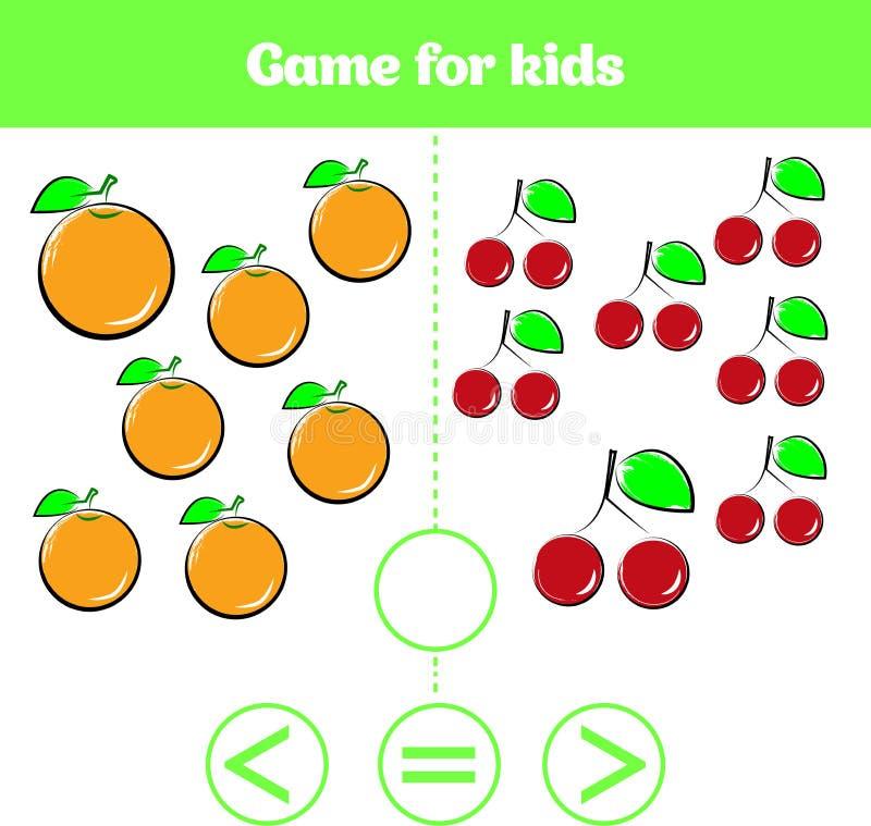 Education logic game for preschool kids. Choose the correct answer. More, less or equal Vector illustration. Fruits vegetables ,pi. Education logic game for royalty free illustration
