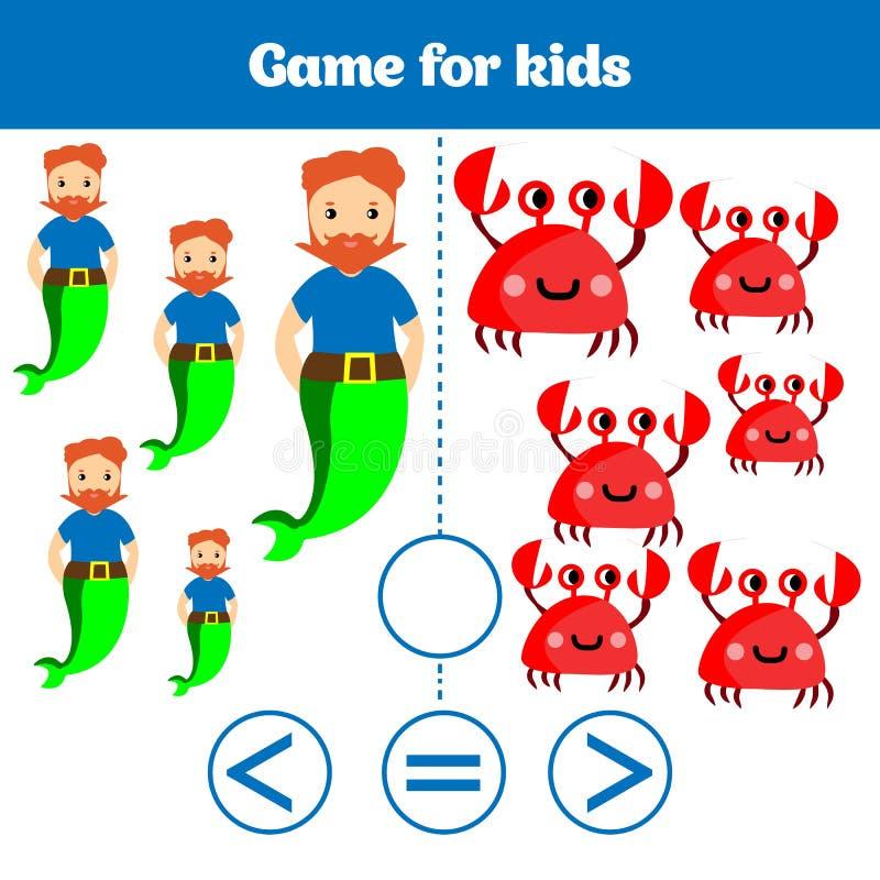 Education logic game for preschool kids. Choose the correct answer. More, less or equal Vector illustration. Theme mermaid sea, oc. Ean, fish vector illustration