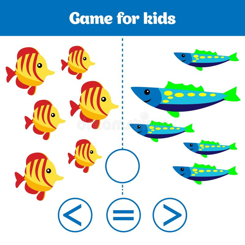 Education logic game for preschool kids. Choose the correct answer. More, less or equal Vector illustration. Theme mermaid sea, oc. Ean, fish royalty free illustration
