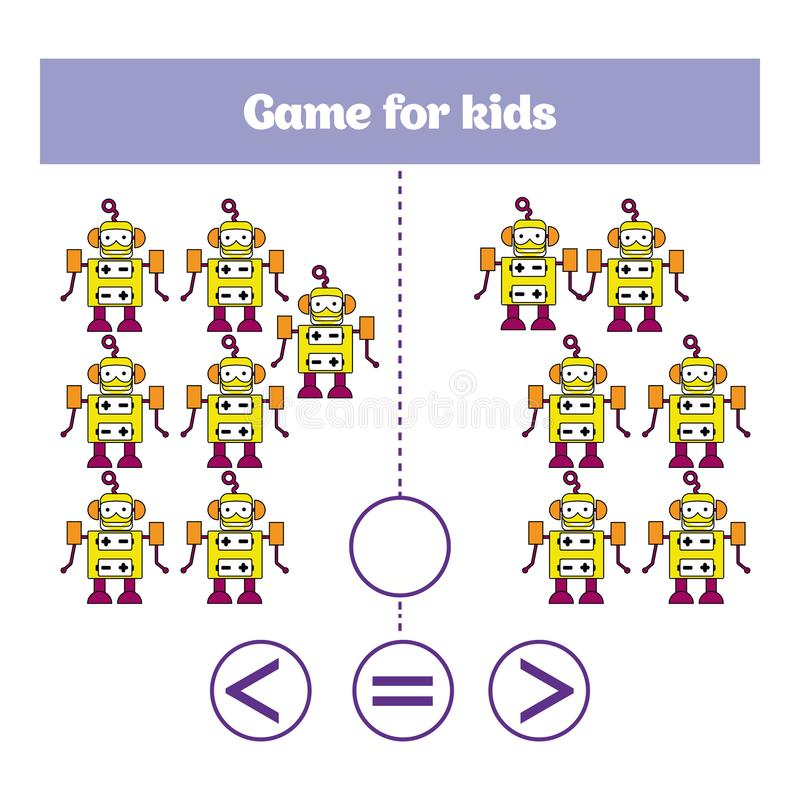 Education logic game for preschool kids. Choose the correct answer. More, less or equal Vector illustration. Theme robots stock illustration