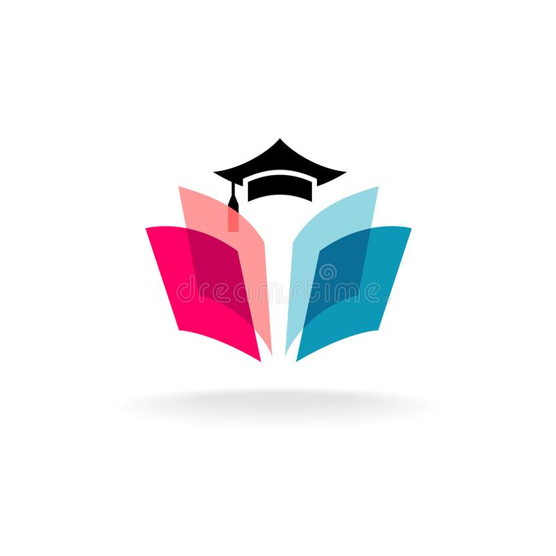 Education logo concept with graduation cap and open book pages. Transparency are flattened vector illustration