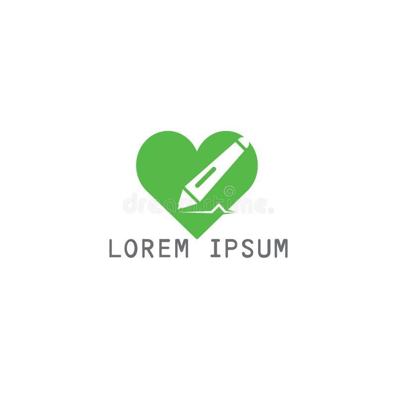 Education logo design. Love education logo design. Unique logo design idea with heart shape and pen. Writing, reading and education theme stock illustration