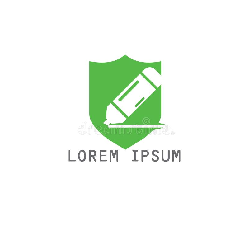 Education logo design. Unique logo design idea with Shield shape and pen. Writing, reading and education theme vector illustration