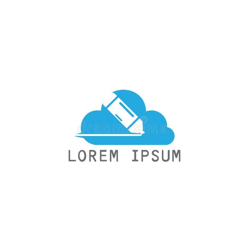 Education logo design. Unique logo design idea with cloud shape and pen. Writing, reading and education theme stock illustration