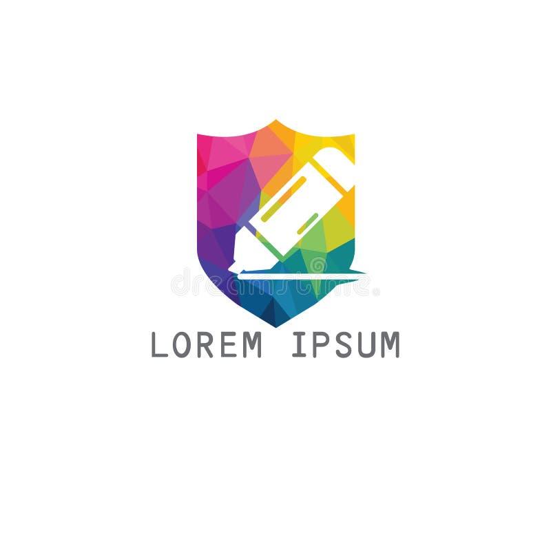 Education logo design. Unique logo design idea with Shield shape and pen. Writing, reading and education theme stock illustration