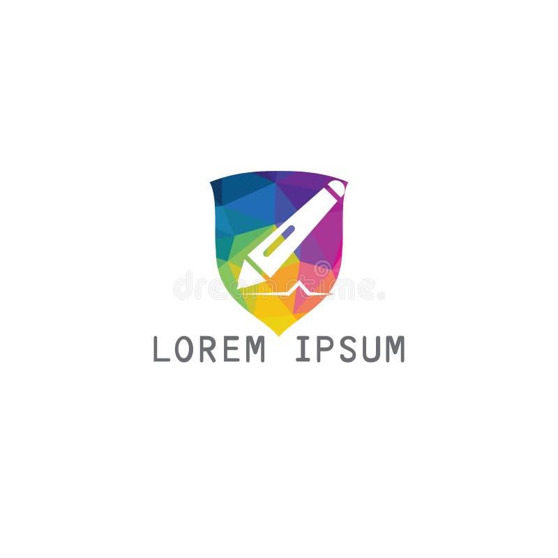 Education logo design. Unique logo design idea with Shield shape and pen. Writing, reading and education theme royalty free illustration