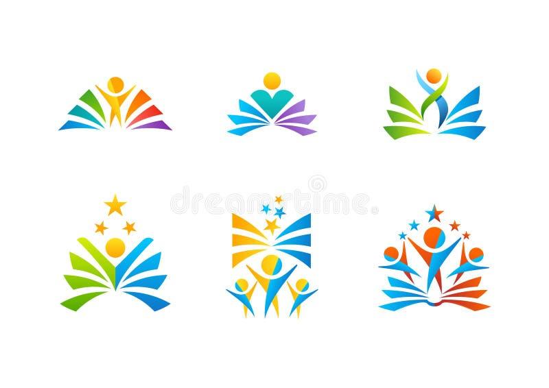 Education logo, iconic symbol vector design student reading books. Education logotype, set of students celebration symbol icon vector design stock illustration