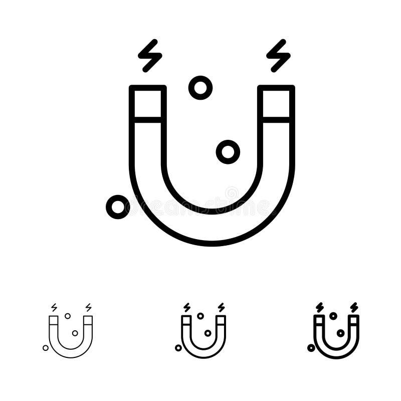 Education, Magnet, Science Bold et mince ensemble d'icônes de ligne noire illustration de vecteur