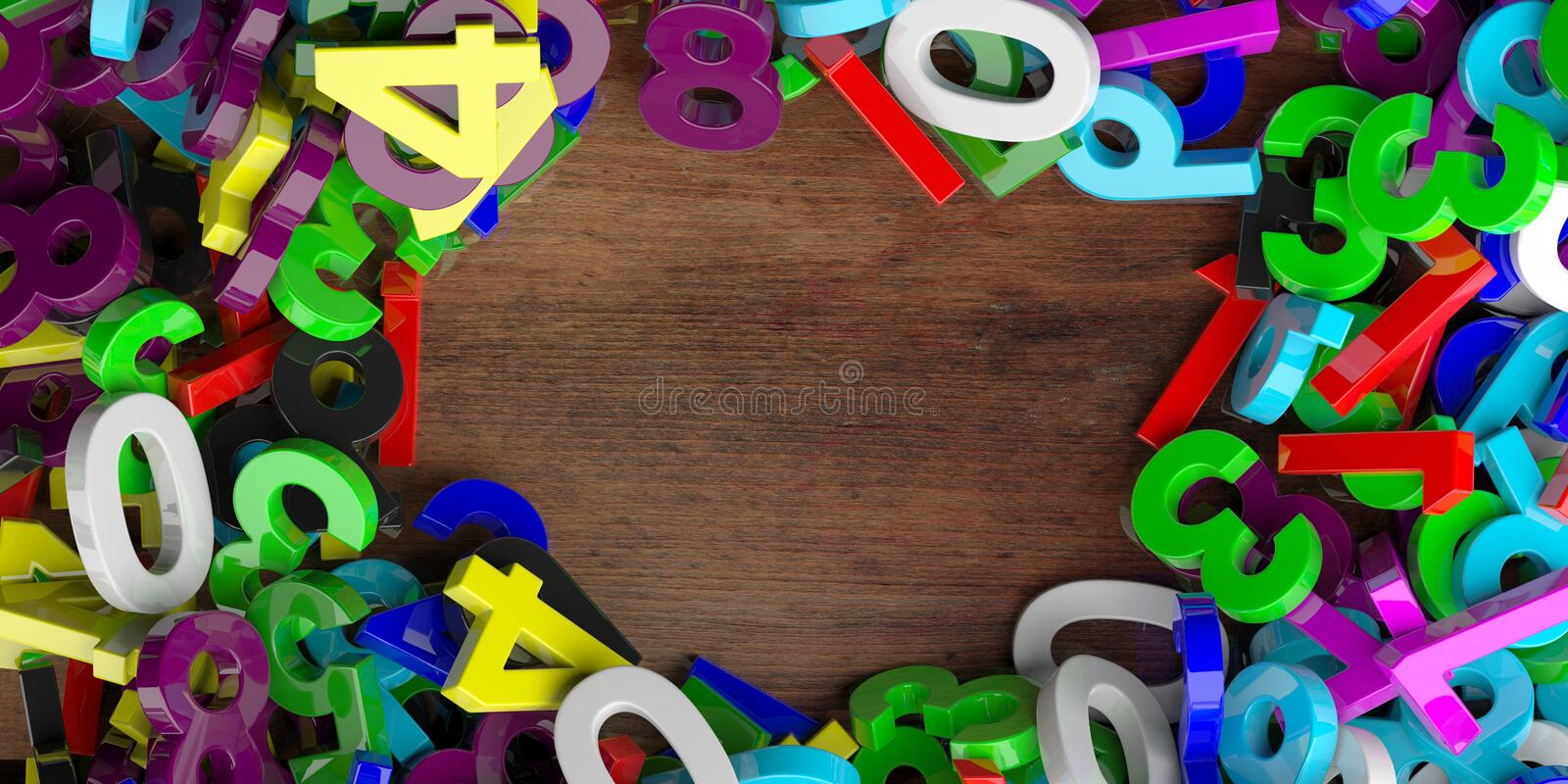 Education, maths, calculation concept. Colorful figures numbers on wooden background, copy space, banner. 3d illustration stock illustration