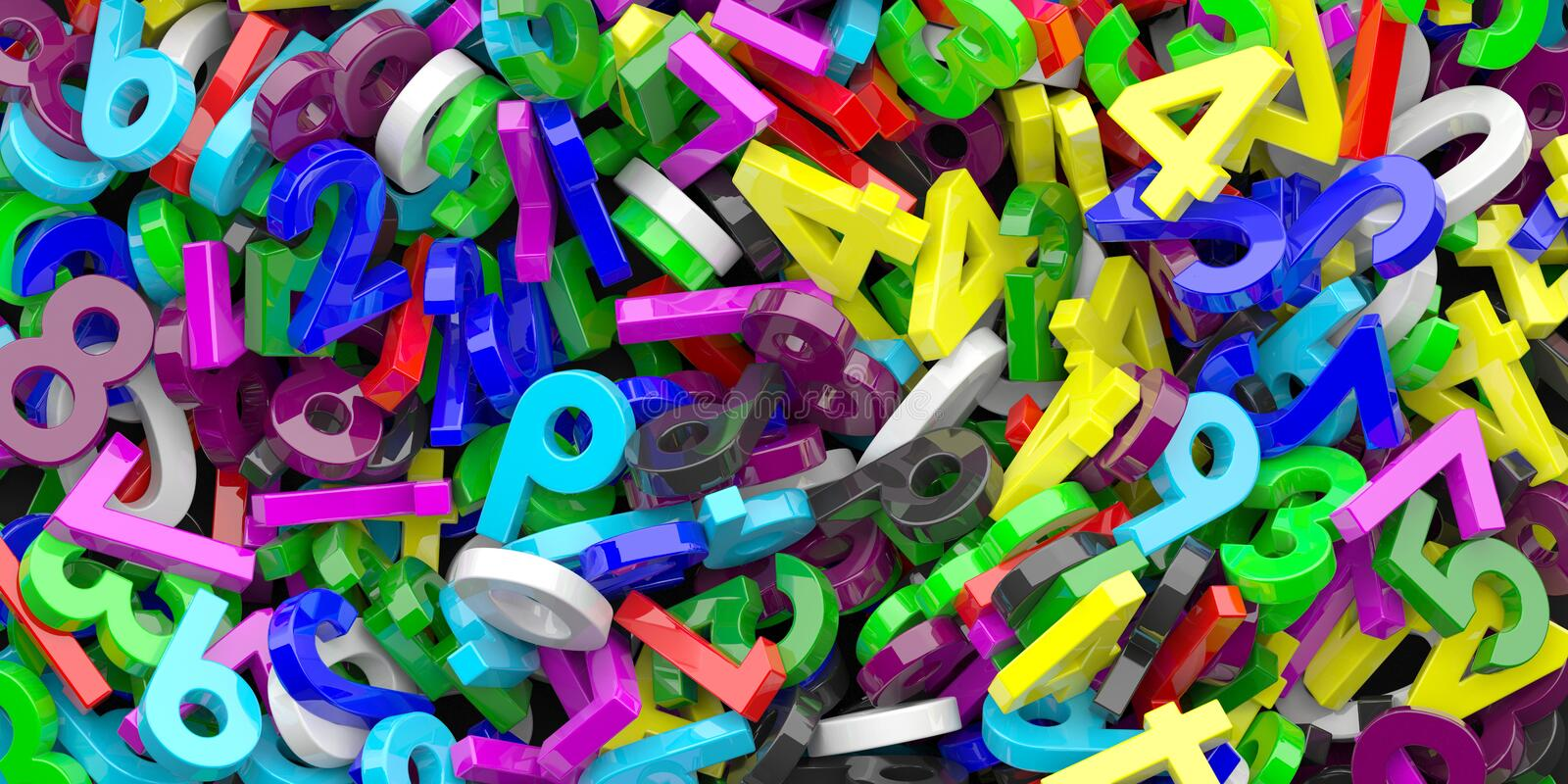 Education, maths, calculation concept. Colorful figures numbers background. 3d illustration royalty free illustration