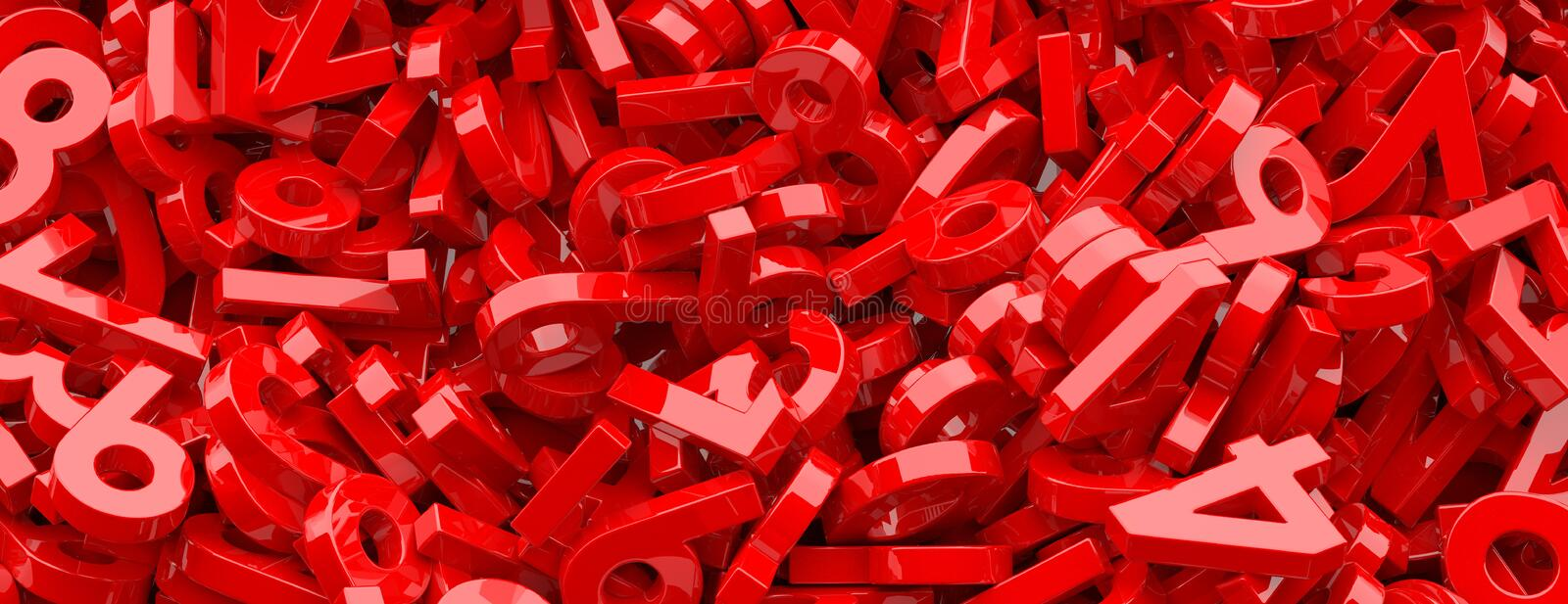 Education, maths, calculation concept. Shiny red figures numbers background, banner. 3d illustration royalty free illustration