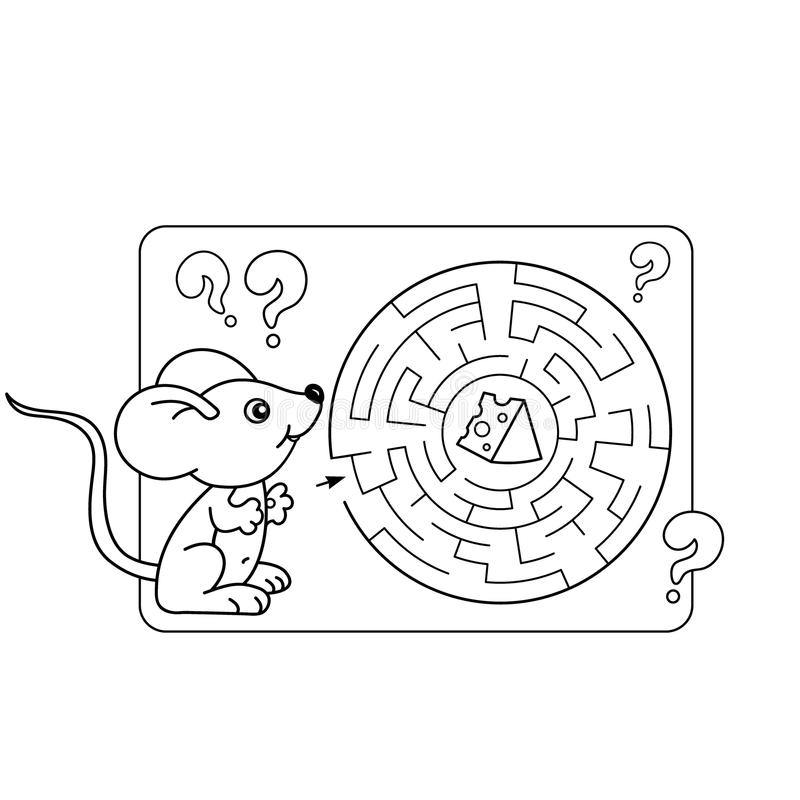 education maze or labyrinth game for preschool children puzzle coloring page stock vector. Black Bedroom Furniture Sets. Home Design Ideas