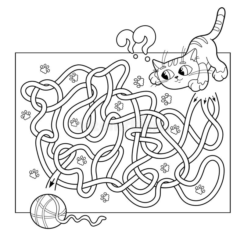 Education Maze or Labyrinth Game for Preschool Children. Puzzle. Tangled Road. Coloring Page Outline Of cat with ball of yarn royalty free illustration