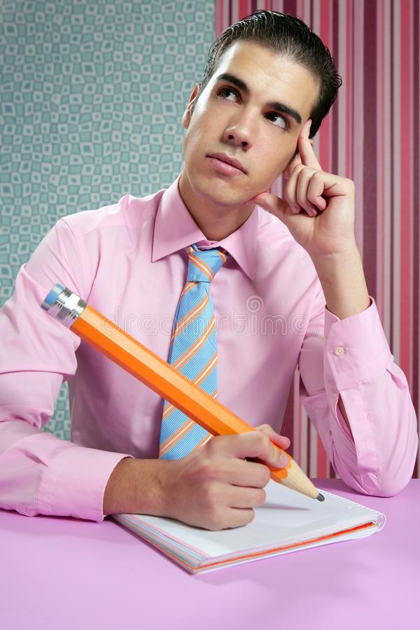 Education metaphor, student young businessman royalty free stock photos